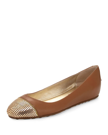 Jimmy Choo Waine Metal Mesh-Toe Ballerina Flat, Canyon/Gold