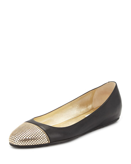 Jimmy Choo Waine Metal Mesh-Toe Ballerina Flat, Black/Gold