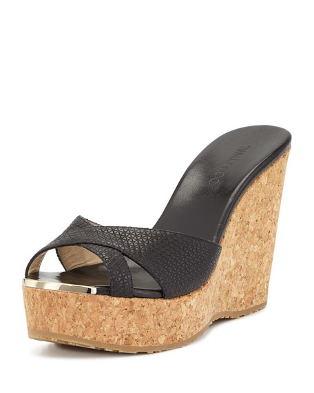 Jimmy ChooPerfume Triangle-Embossed Wedge Sandal, Black