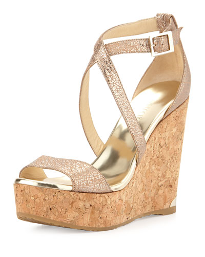 Portia Metallic Crisscross Wedge Sandal, Nude