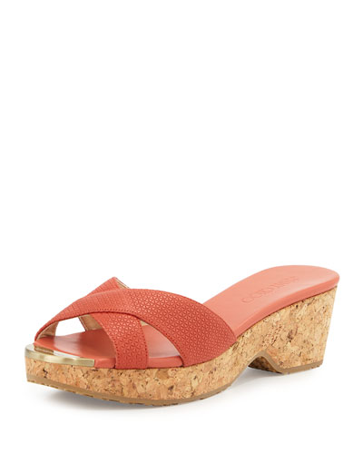 Panna Leather Crisscross Slide Sandal, Agate