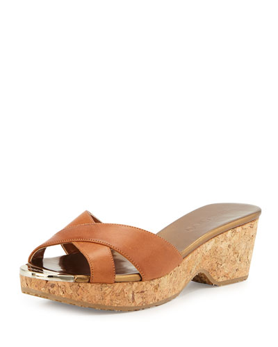 Jimmy Choo Panna Leather Crisscross Slide Sandal, Canyon