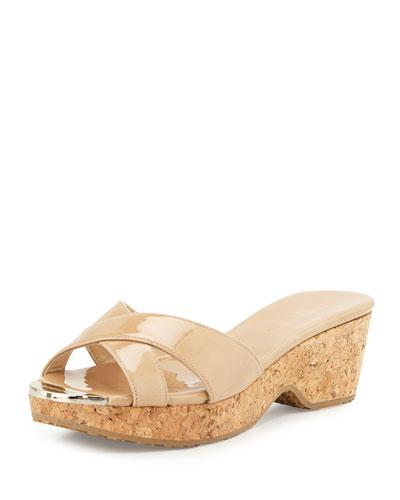 Panna Patent Crisscross Slide Sandal, Nude