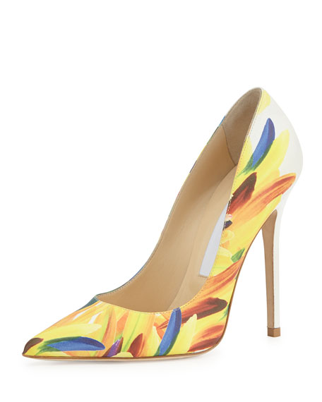 Jimmy Choo Anouk Feather-Print 120mm Pump, Multi