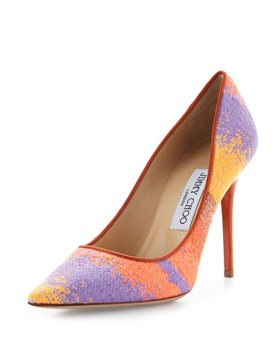 Jimmy Choo Abel Woven Pointed-Toe Pump, Spice/Mix