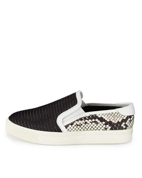 Bram Snake-Embossed Skate Sneaker, Black/Light Gray