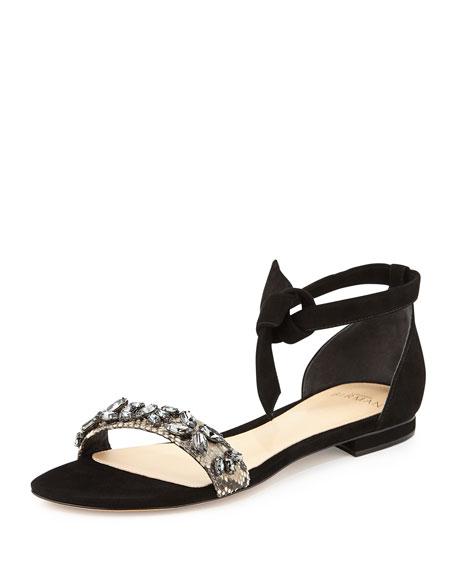 Alexandre Birman Clarita Glam Suede/Python Sandal, Black/Natural