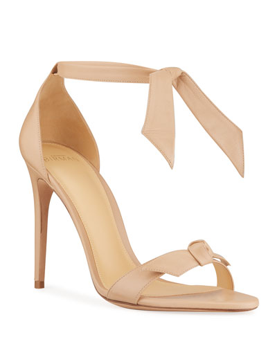 Bow-Tie Leather d'Orsay Sandal, Nude