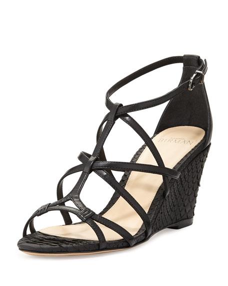Alexandre Birman Mallica Python/Leather Wedge Sandal, Black