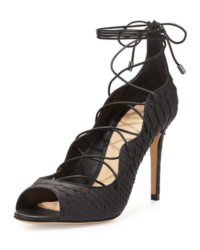 New Donna Python Lace-Up High-Heel Sandal, Black