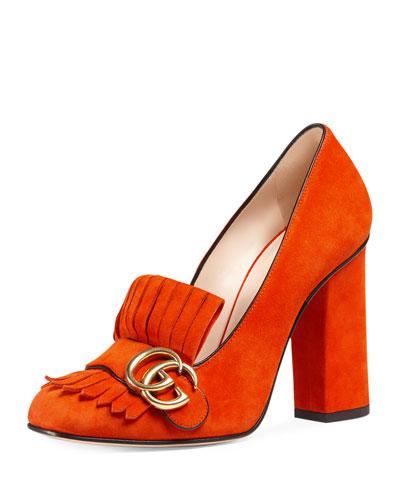 Marmont Fringe Suede 105mm Loafer, Sun Orange