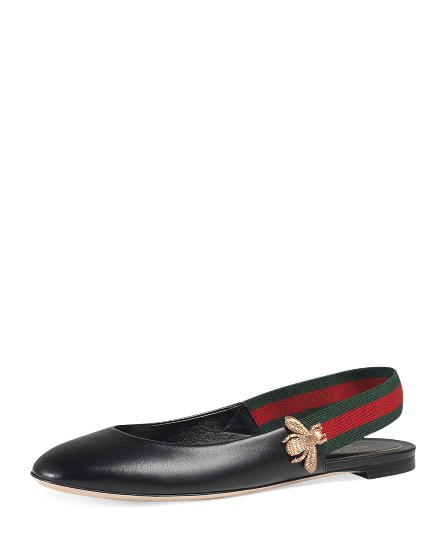 Gucci Bayadere Leather Slingback Flat