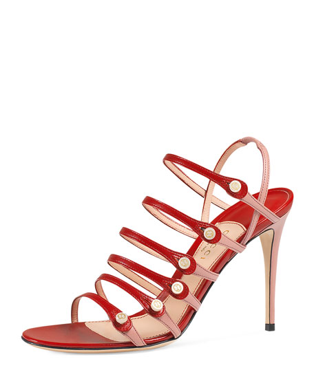 GucciAneta Leather Ladder-Strap 95mm Sandal, Carmine Rose
