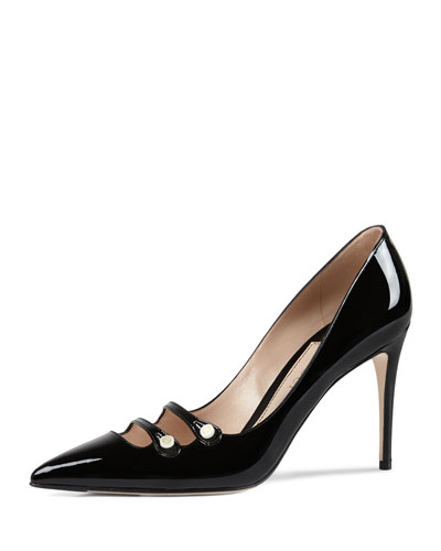 Aneta Double-Strap Patent Pump, Black