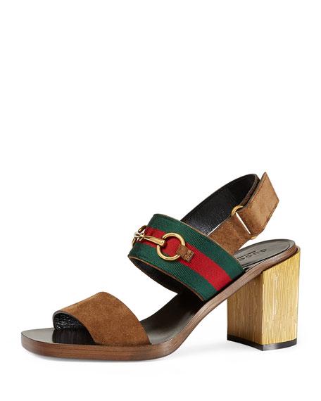 Gucci Querelle Suede Web Sandal, Marron Glace