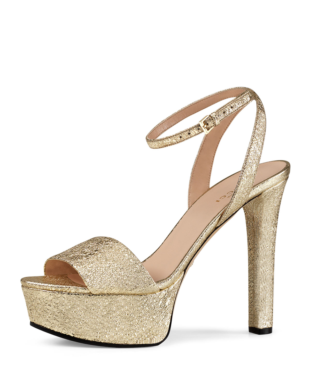 00b43d2ac41 Gucci Leila Metallic Platform Sandal