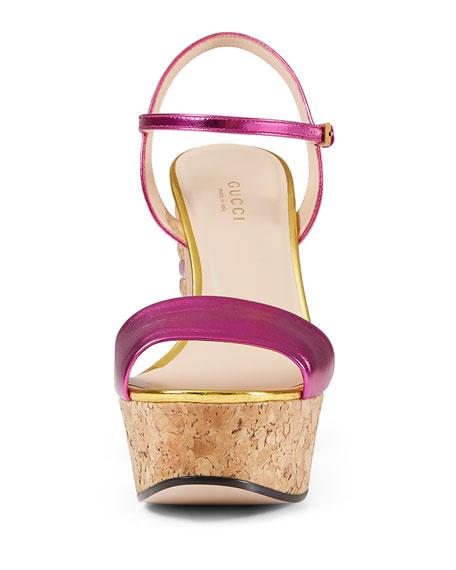 Gucci Claudie Metallic Cork Platform Sandal, Fuchsia/Gold