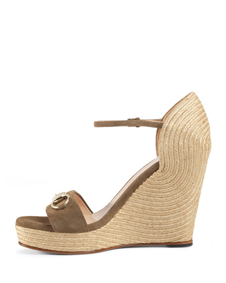 b84ffd8ef Gucci Carolina Suede Wedge Espadrille Sandal, Taupe | Neiman Marcus