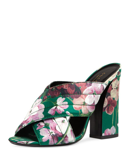 GucciWebby Floral-Print 110mm Sandal, Bright Emerald