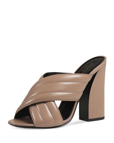 Gucci Webby Leather 110mm Sandal, Porcelain Rose