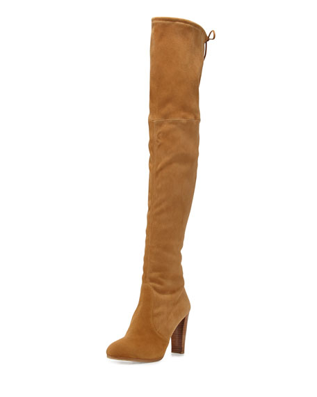 Highland Suede Over-the-Knee Boot, Camel