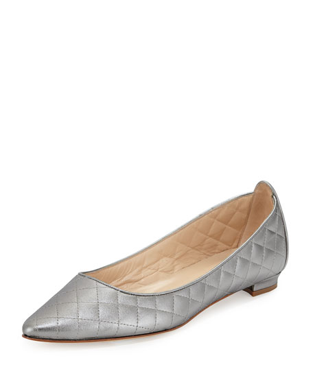 Manolo Blahnik Abat Quilted Pointed-Toe Flat, Pewter