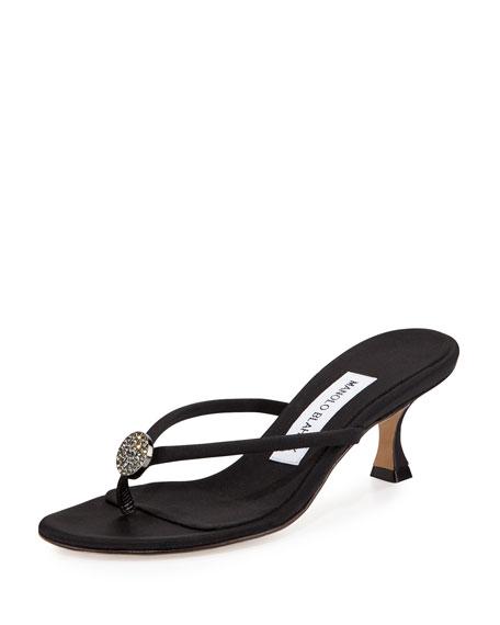 Manolo Blahnik Dole Embellished Thong Sandal, Black