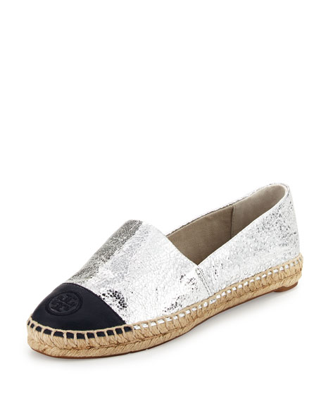 Tory Burch Metallic Colorblock Espadrille Flat, Silver/Tory Navy