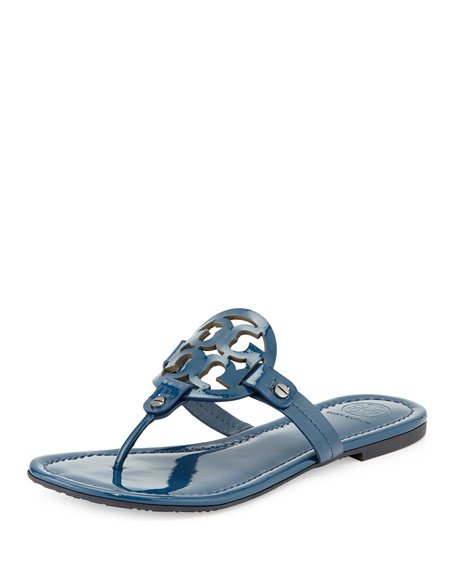 Tory Burch Miller Flat Patent Sandal, Province Blue