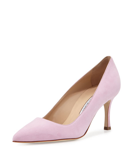 Manolo Blahnik BB Suede 70mm Pump, Baby Pink