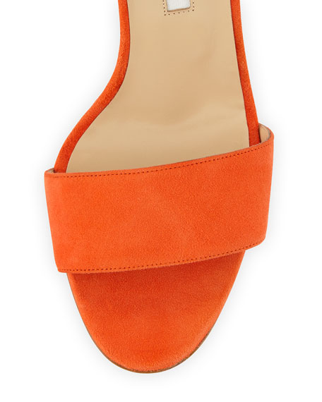 1e4301e3ed3ab Manolo Blahnik Tondala Suede Ankle-Wrap Sandal, Orange