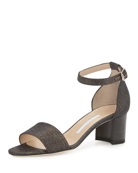 Manolo Blahnik Lauratomod Denim Ankle-Wrap Sandal, Metallic Wash