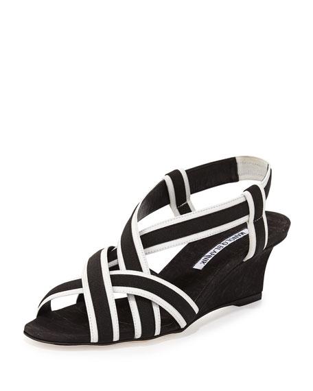 Manolo Blahnik Lasti Crisscross Wedge Sandal, Black/White