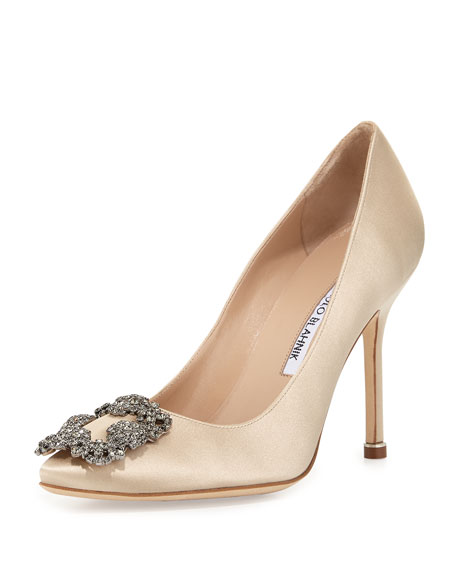Manolo Blahnik Hangisi Crystal-Buckle Satin 105mm Pump, Champagne