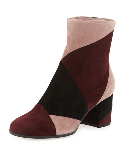 Patchwork Suede Ankle Boot, Multi