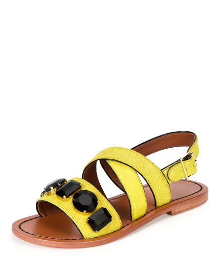 Marni Jeweled Calf-Hair Flat Slingback Sandal, Pineapple
