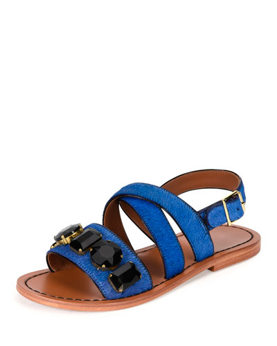 Jeweled Calf-Hair Flat Slingback Sandal, Navy