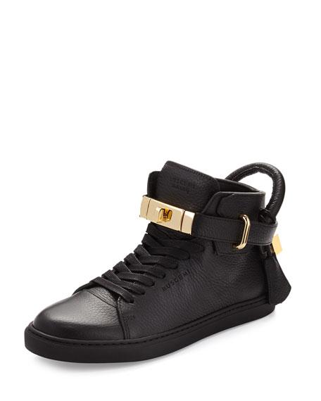 Buscemi Women's Padlock & Key Pebbled Leather Sneaker,