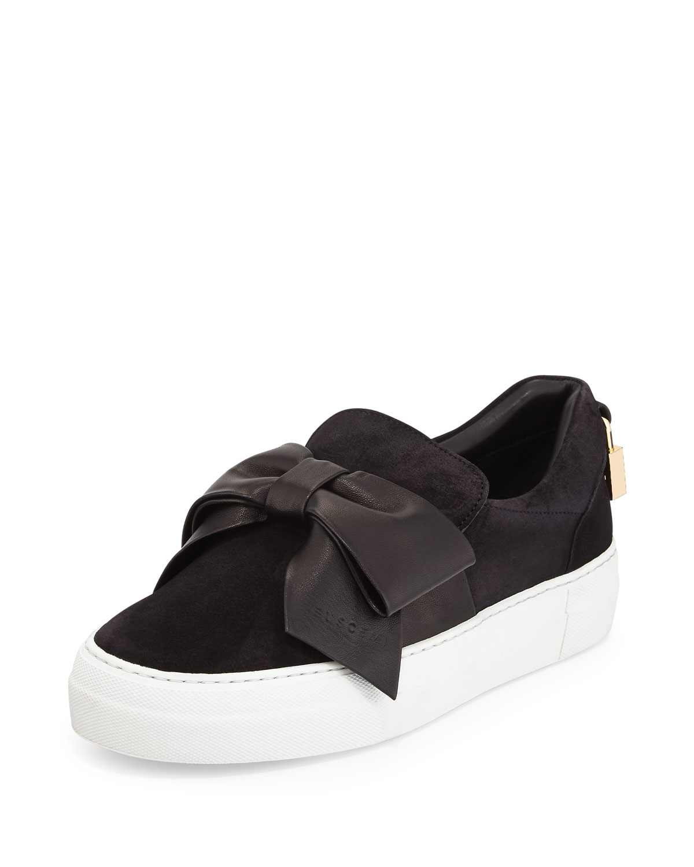 Buscemi Suede Bow Padlock Skate Sneakers, Black