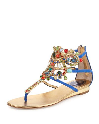 Crystal-Chandelier Thong Sandal, Bluette/Multi