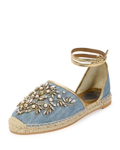 Rene Caovilla Strass & Denim Ankle-Wrap Espadrille Sandal, Blue