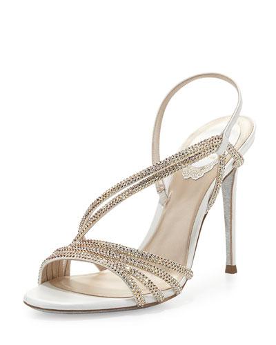 Jeweled Asymmetric Slingback Sandal, Beige/Oro