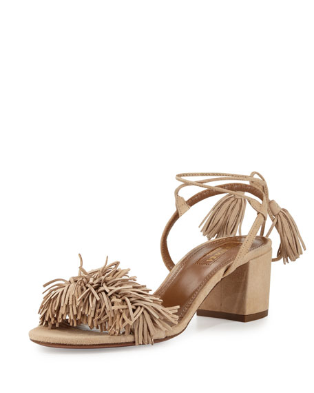 Aquazzura Wild Thing Fringe City Sandal, Biscotto