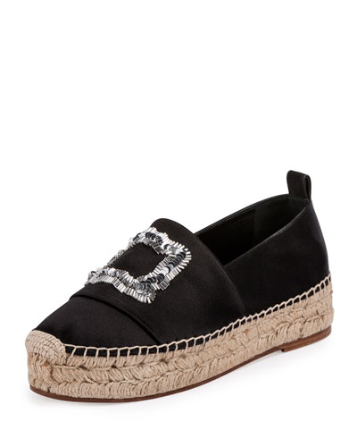 Sequined Suede Espadrille Flat, Black (Nero)