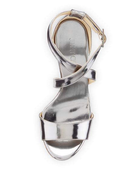Portia Metallic Crisscross Wedge Sandal, Silver