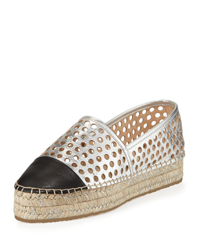 Mariko Perforated Leather Flat, Silver/Black