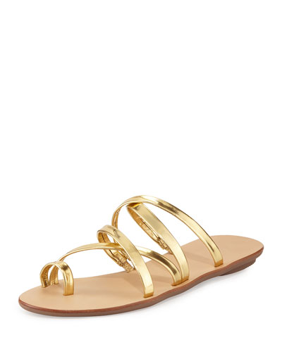 Sarie Leather Toe-Ring Flat Sandal, Gold