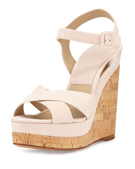 Michael Kors Collection Cate Suede Wedge Sandal, Ballet
