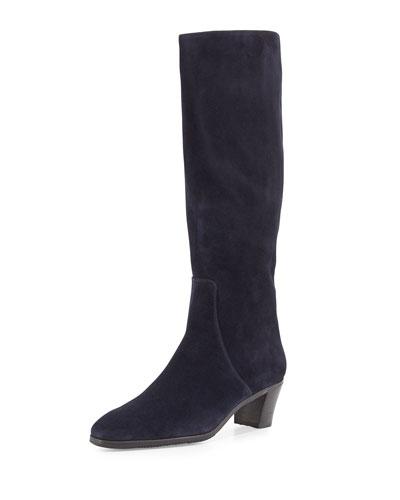Suede Side-Zip Knee Boot, Navy