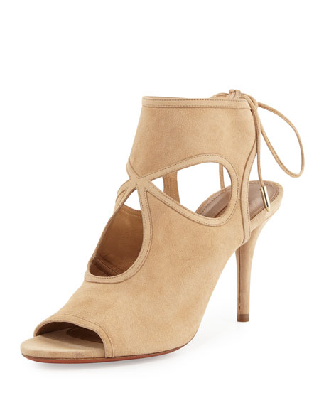 Aquazzura Sexy Thing Suede Cutout Sandal, Neutral